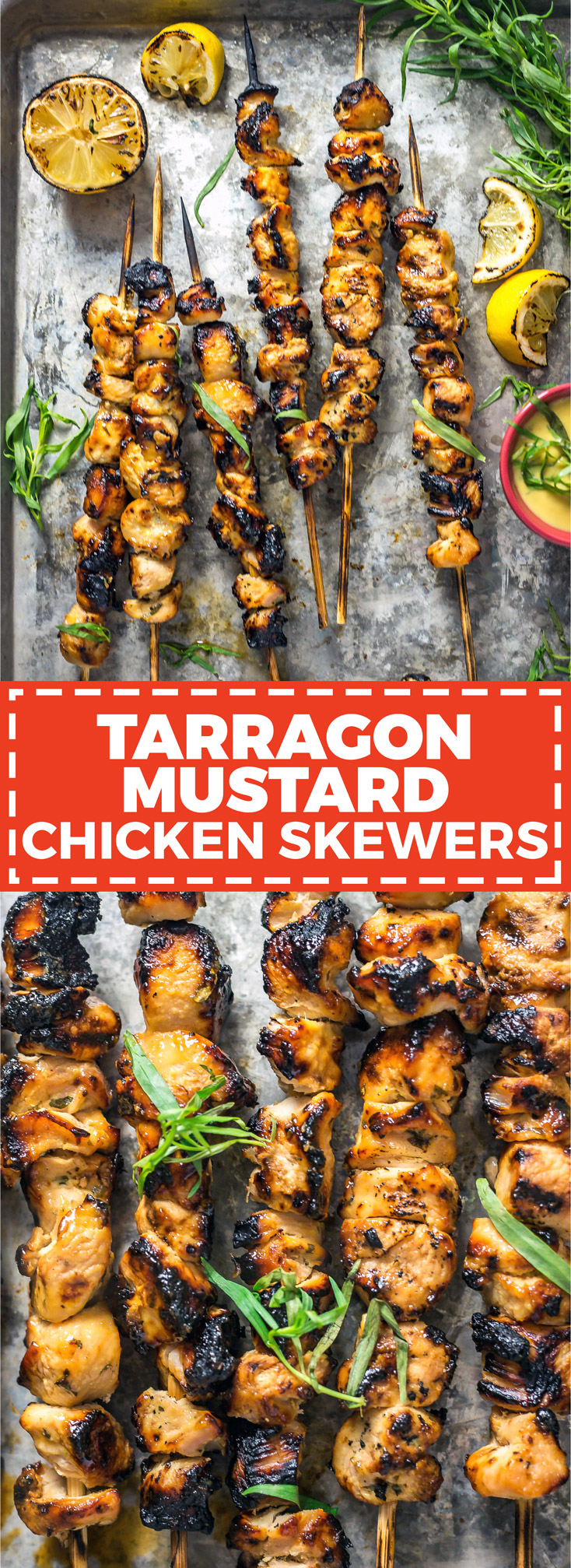 Tarragon Mustard Chicken Skewers. Dijon mustard, garlic, lemon juice, olive oil, tarragon and honey are all you need to make an incredibly flavorful chicken marinade. | hostthetoast.com
