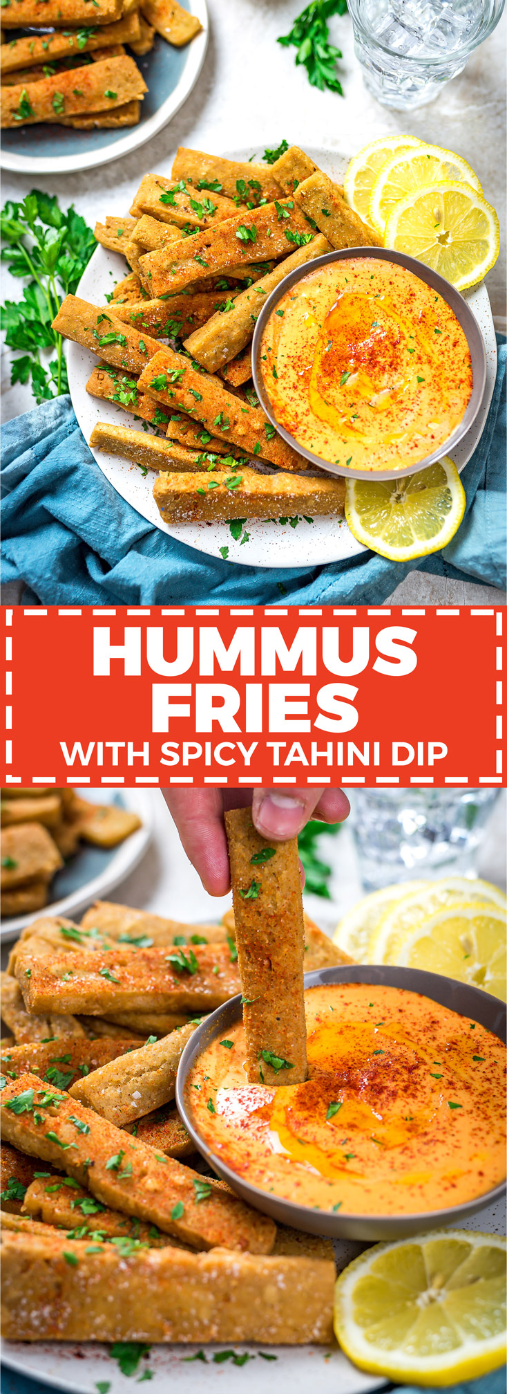 Hummus Fries with Spicy Tahini Dip. These fritters are made with chickpea flour and tahini for a crisp-exteriored snack with a custardy, hummus-like center. | hostthetoast.com