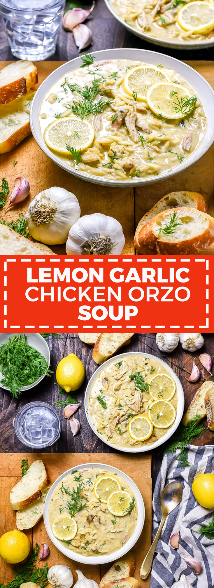 "Lemon Garlic Chicken Orzo Soup. Inspired by Greek ""Avgolemono"", this recipe is thickened with a mixture of lemon juice, pureed garlic, and egg to create a flavor-packed, citrusy, velvety soup. 
