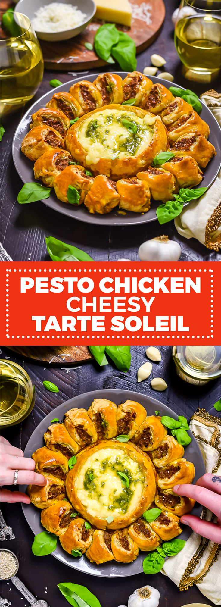 Pesto Chicken Cheesy Tarte Soleil. Baked brie or camembert and pesto-loaded ground chicken are baked in puff pastry to create this pull-apart party appetizer. | hostthetoast.com