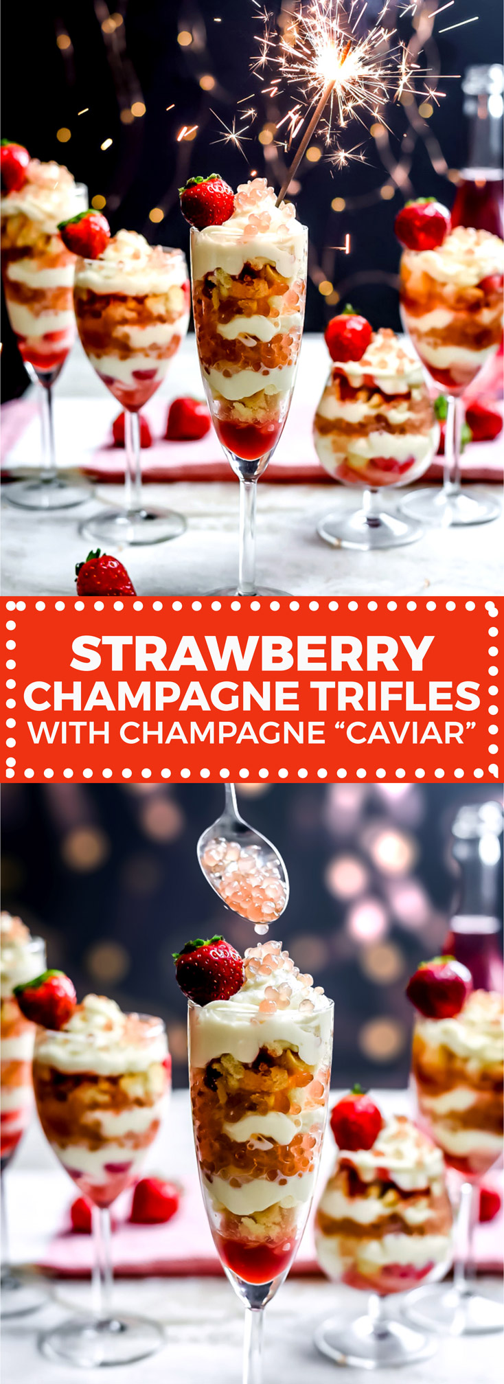 """Strawberry Champagne Trifles with Champagne """"Caviar"""". These layered desserts feature strawberry jam, crushed ladyfingers, champagne-soaked strawberries, an easy mascarpone cream, and gelatin strawberry-champagne spheres that are just as fun to make as they are to eat. All together, the trifles make for the perfect New Years Eve or Valentines' Day dessert. 