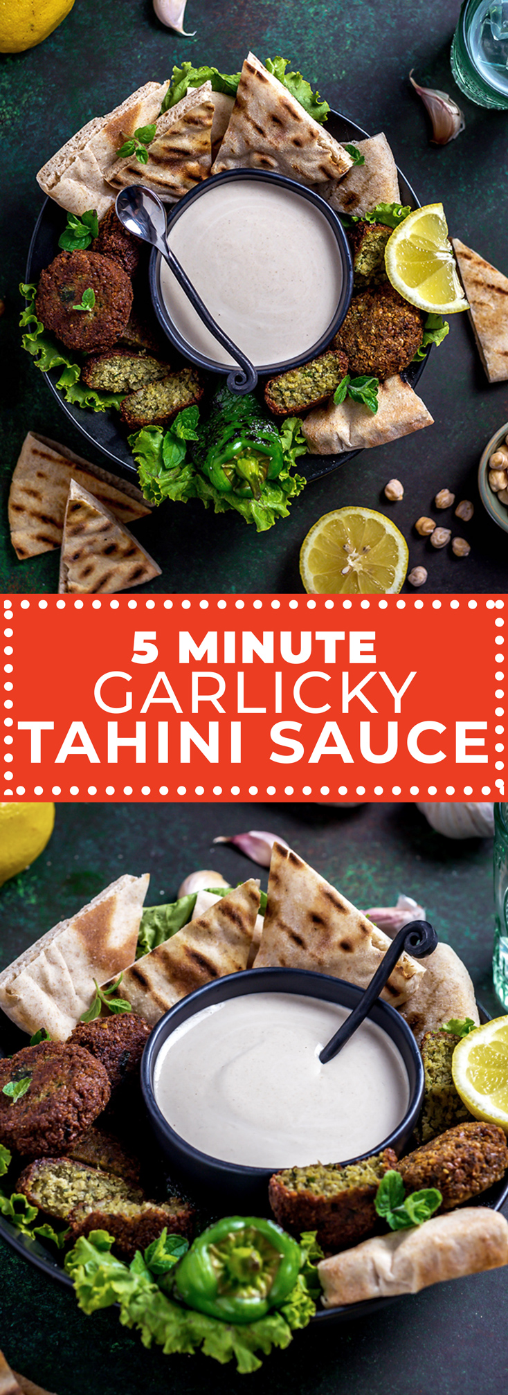 5 Minute Garlicky Tahini Sauce is a traditional Middle Eastern sesame seed based sauce that's tangy, nutty, creamy, and silky smooth without any help from dairy. The secret that makes this recipe the best (and easiest)? Blending a whole, unpeeled head of garlic with fresh lemon juice. It sounds weird, but if you read on you'll understand why! | hostthetoast.com