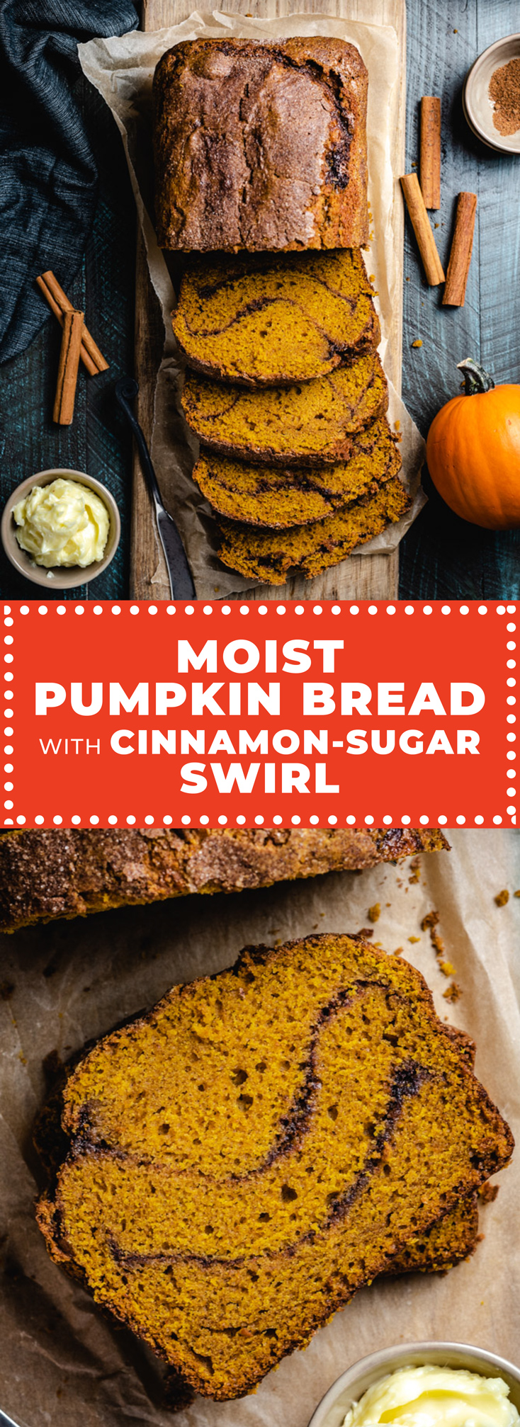This easy recipe produces a moist, fluffy, and flavorful pumpkin bread with ribbons of cinnamon sugar inside and a crisp, craggly cinnamon crust.  | hostthetoast.com