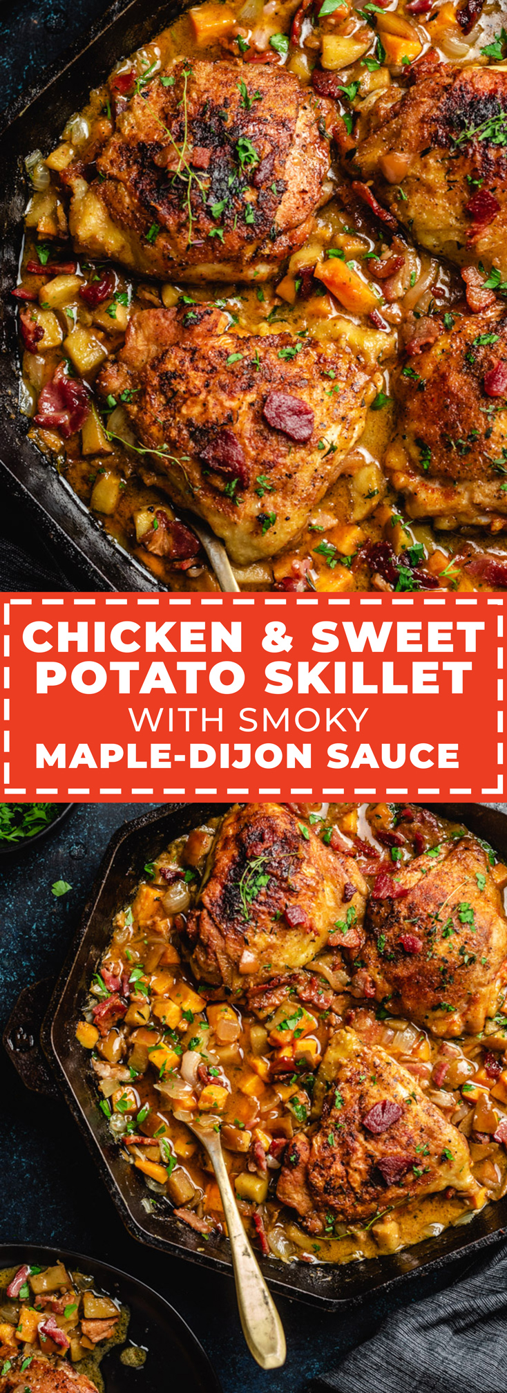 In this easy Chicken and Sweet Potato Skillet, tender-crisp chicken thighs are nestled into an autumn bounty of sweet potatoes, apples, onion, and bacon, then finished off with a finger-lickin Smoky Maple-Dijon Sauce. | hostthetoast.com