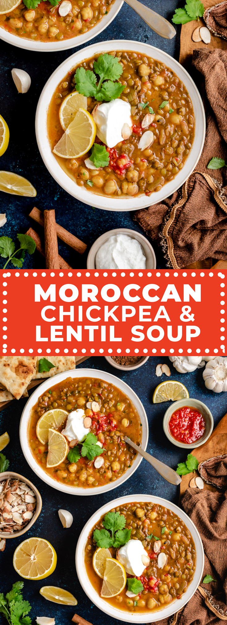 a is a comforting Moroccan soup that features chickpeas, lentils, and plenty of deep flavors from harissa paste and toasted spices. Typically, Harira soup includes ground meat, but this easy version is vegetarian (and vegan) friendly! Even better-- it mostly makes use of pantry staples, so it's easy to stock up ahead of time and make this delicious soup whenever the craving hits. | hostthetoast.com