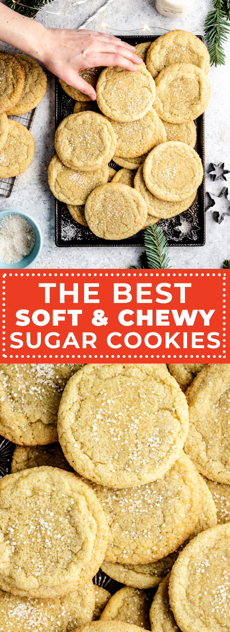 If you're looking for the ultimate recipe for soft and chewy sugar cookies, you've come to the right place. Not only are these sugar cookies fantastically buttery, tender, and doughy; but they also stay soft for days on end. They're also incredibly easy to make and require no rolling out! | hostthetoast.com
