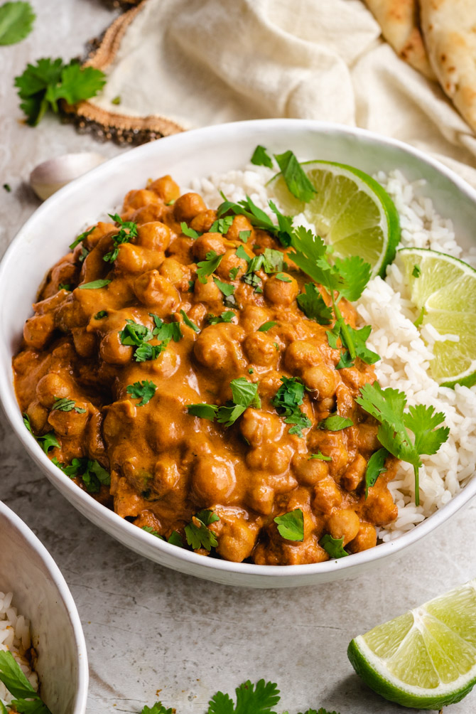This Easy Chickpea curry is the perfect weeknight dinner: it's quick and easy to make, it comes together in one pot, and it uses staple pantry ingredients so you can make curry any time the craving hits.