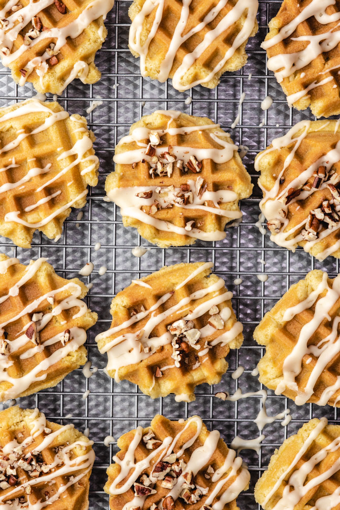 If you've never baked your cookie dough in a waffle iron, you're missing out. These Waffle Cookies develop a crisp crust while maintaining a soft and chewy interior, and they take less than 2 minutes to bake (all without taking up any oven space). Drizzle them with a simple Maple Glaze to top off the waffle theme and pump up the flavor!