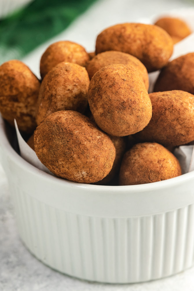 Perhaps the easiest and tastiest St. Patrick's Day treat, Irish Potatoes are a no-cook candy that features cinnamon, coconut, and cream cheese. They're great for making with kids, giving as gifts, or devouring yourself (because let's be honest, you can't eat just one).