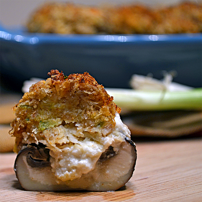 Crab Cake and Garlic Cream Cheese Stuffed Mushrooms