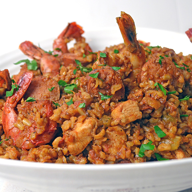 Chicken, Sausage, and Shrimp Jambalaya