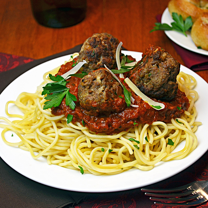 Spaghetti and Meatballs-- recipes for Marinara and Meatballs that are perfect for a romantic meal!