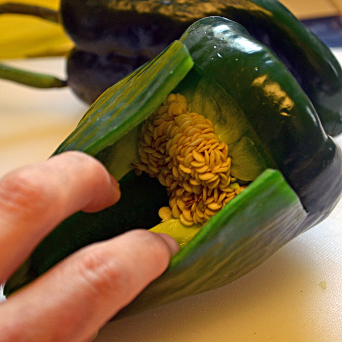 Opening the chile relleno
