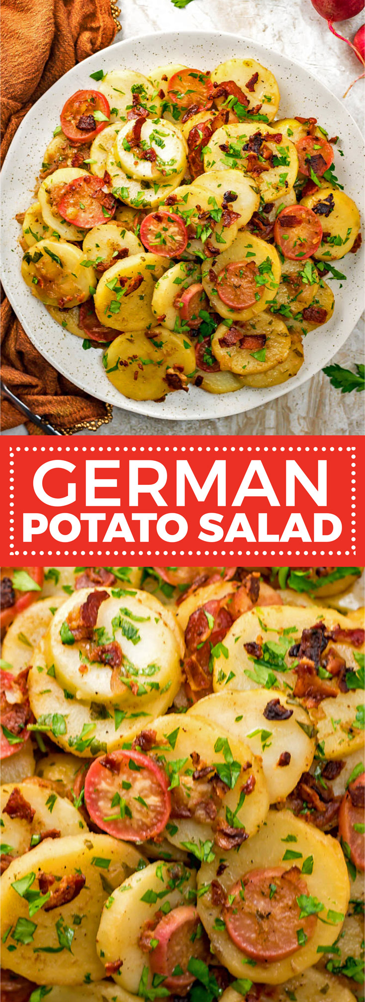 German Potato Salad is the ultimate mayo-free summer side dish. With bacon, broth, and vinegar in the mix, there's no shortage of flavor in this potato salad, which is served warm or at room temperature. | hostthetoast.com