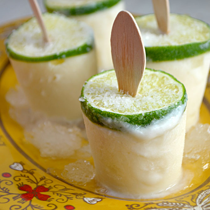 Margarita Popsicles (with Tequila)