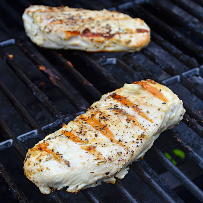 Grilled Chicken for the Pesto Chicken Sandwiches