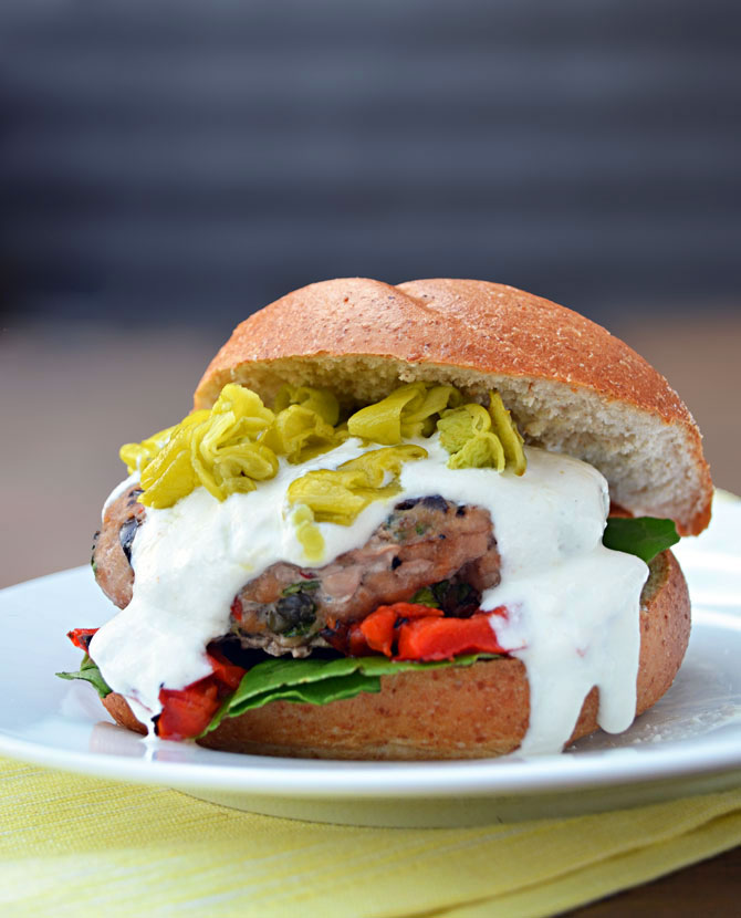 Greek Turkey Burgers with Feta-Yogurt Sauce