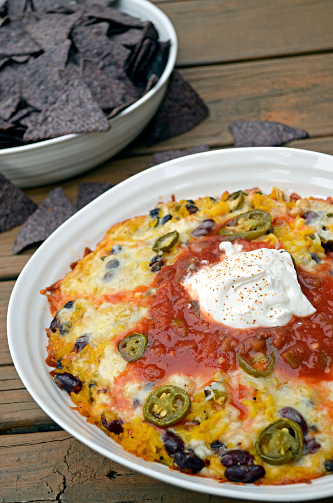 Cheesy Baked Rice n' Bean Dip (or Ricin Bean Dip if you're making it for your Breaking Bad party!)