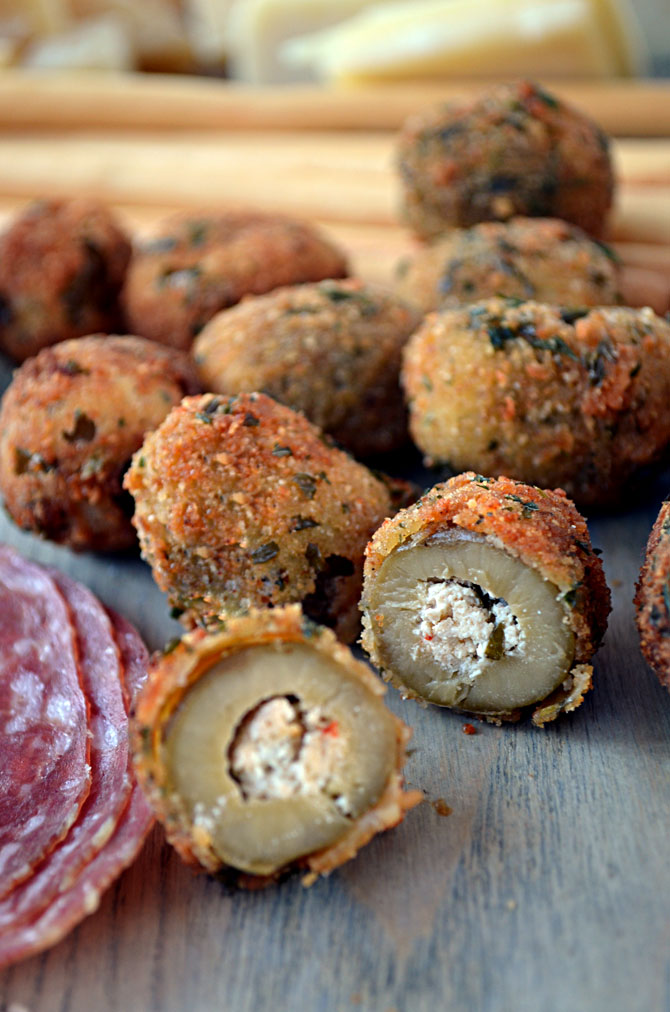 Fried Olives Stuffed with Italian Sausage and Goat Cheese