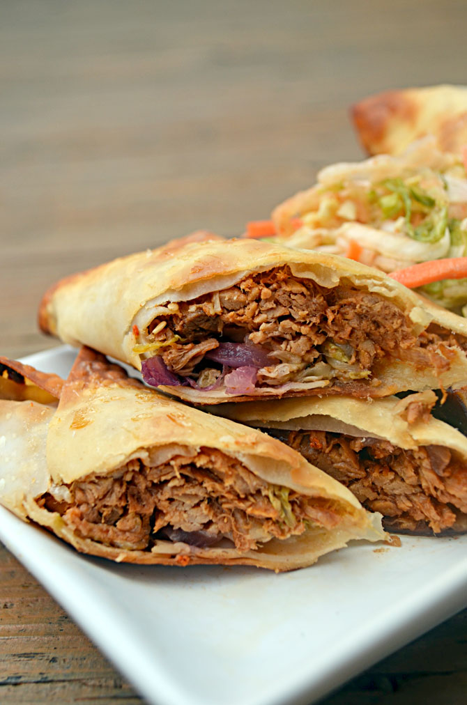 Baked Pulled Pork Egg Rolls