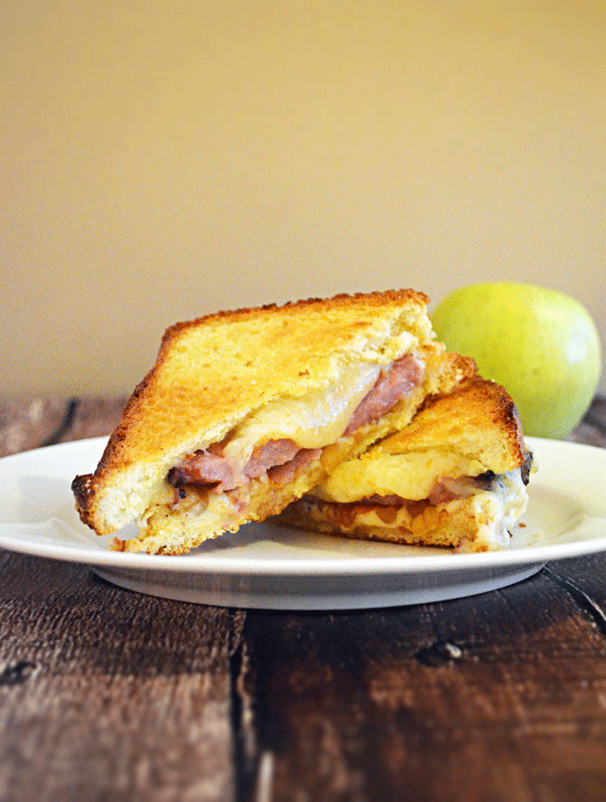 Root Beer Glazed Ham Melt with Apple Compote and White Cheddar