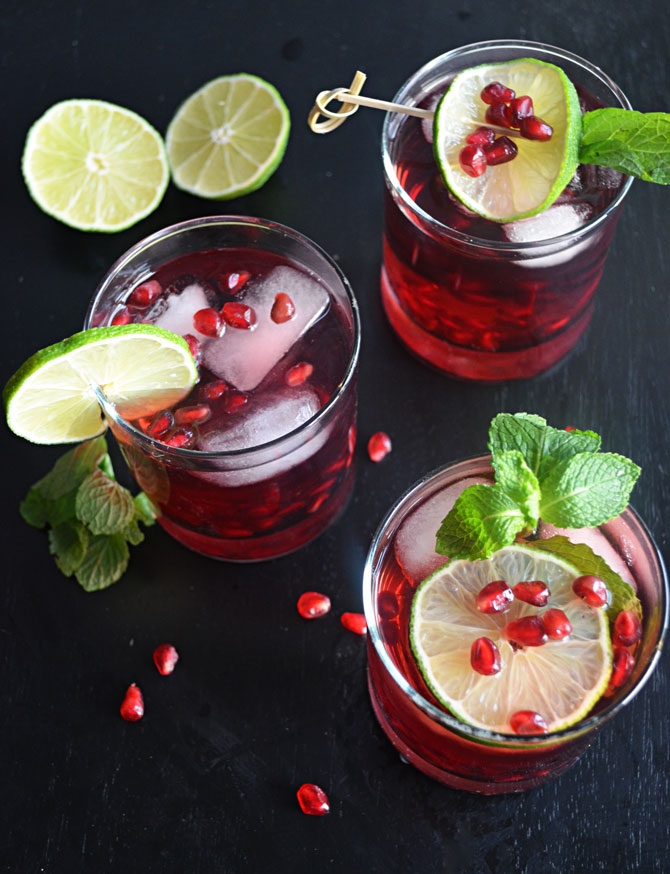 Pomegranate Mojitos-- a great drink for holiday festivities!