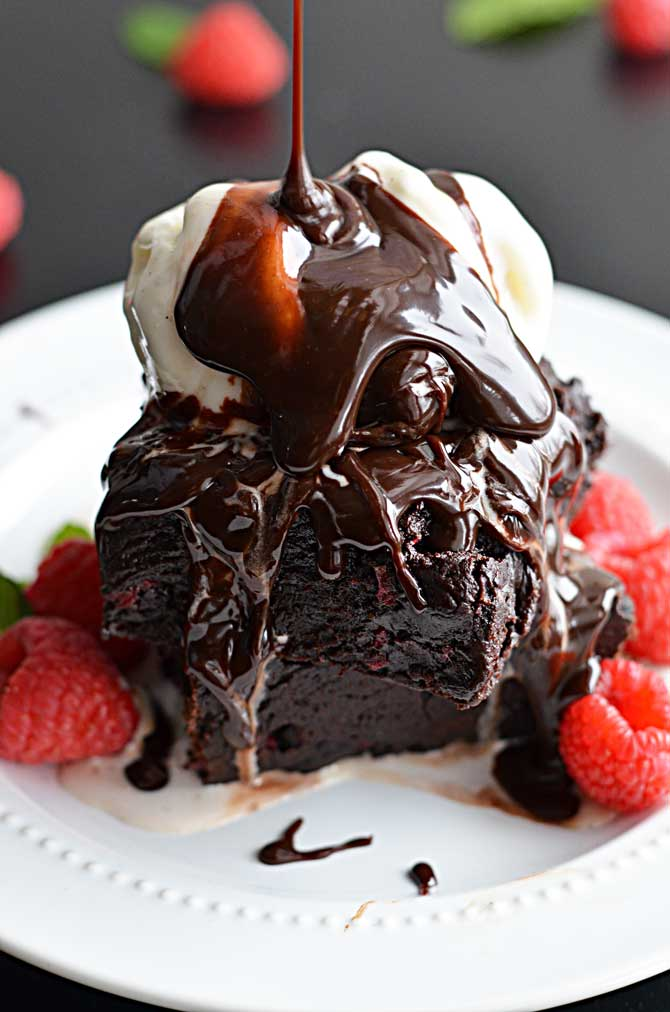 Fudgy Raspberry Dark Chocolate Brownies (a la Mode)-  These brownies are amazing and ultra fudgy by themselves or with a scoop of ice cream and a sinful added drizzle of hot fudge.  This is like chocolate-loving heaven.