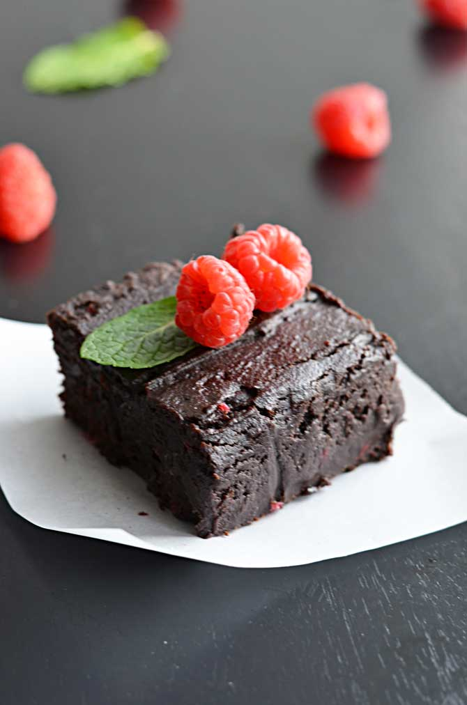 Fudgy Raspberry Dark Chocolate Brownies