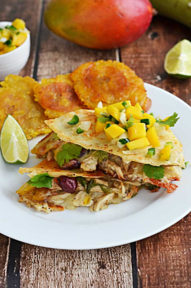 Jamaican Jerk Chicken Quesadillas-- with shredded jerk chicken, red beans, tostones, and havarti cheese, this quesadilla is the BEST QUESADILLA I've ever had.  And I've had a lot.