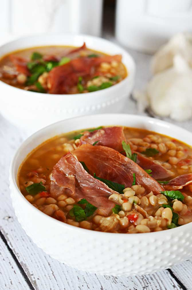 Roasted Garlic and White Bean Soup with Crispy Prosciutto