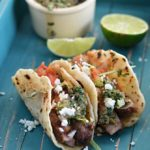 Chili Rubbed Steak Tacos with Chimichurri