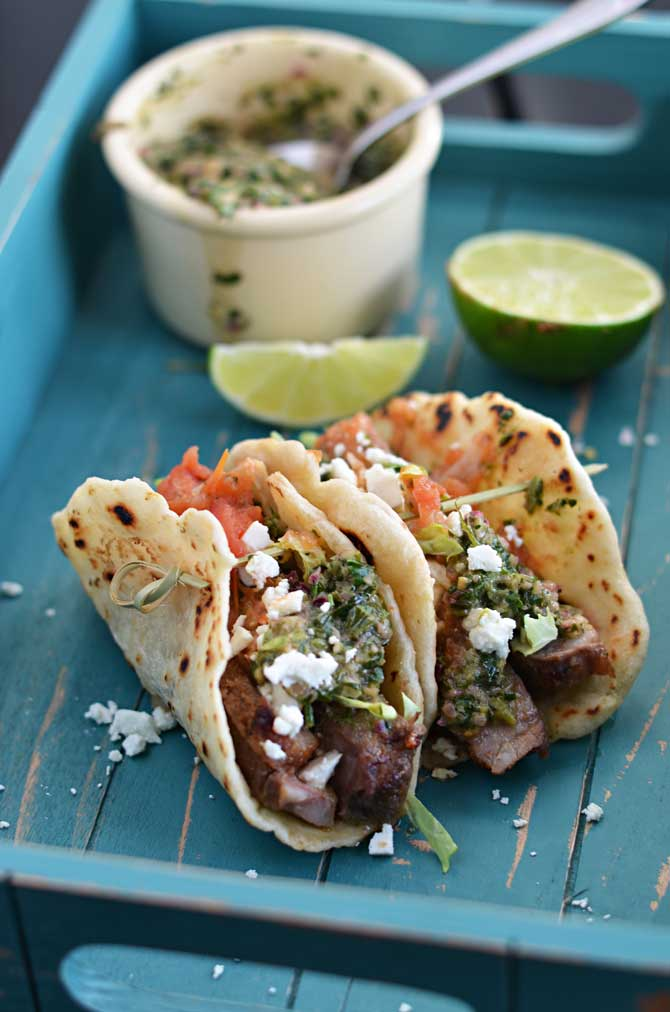 """Chili Rubbed Steak Tacos with Chimichurri.  Don't settle for boring tacos """"instant tacos"""" ever again.  These are the real deal! 