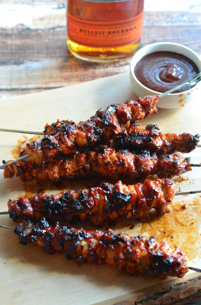 Bacon Bourbon BBQ Chicken Kebabs. Probably the best grilled recipe EVER. | hostthetoast.com