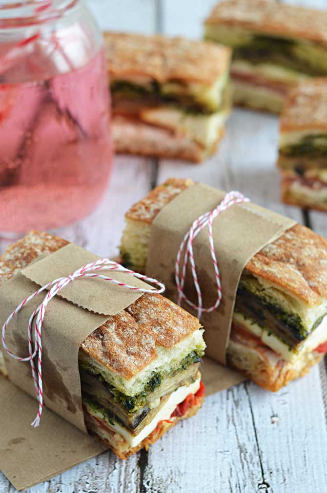 Eggplant, Prosciutto, and Pesto Pressed Picnic Sandwiches- perfect for your summer picnics, BBQs, and more! | hostthetoast.com