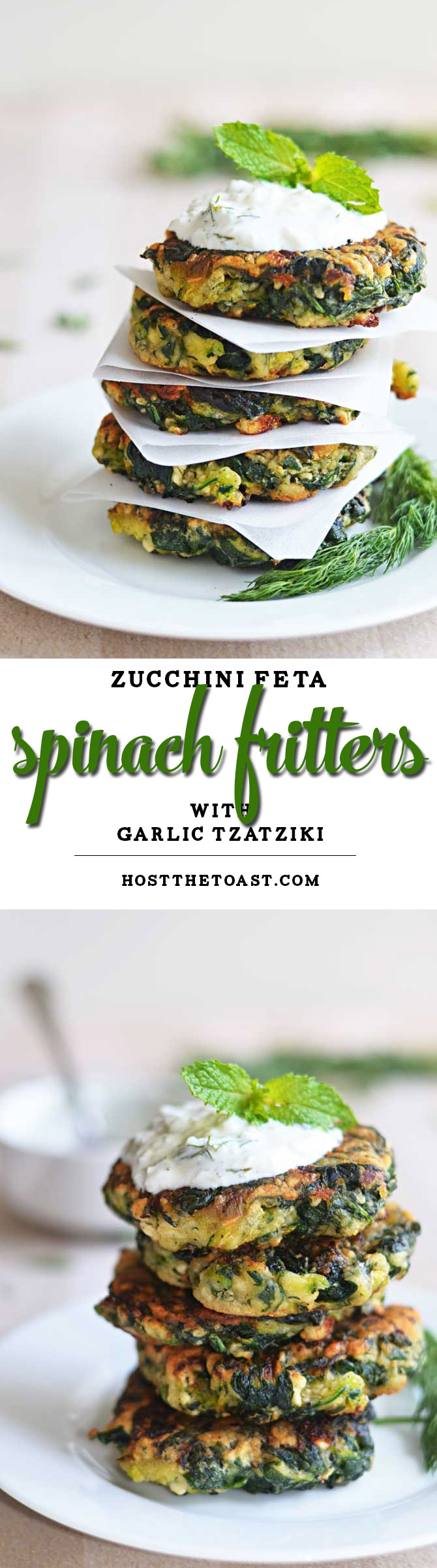 Zucchini, Feta, and Spinach Fritters with Garlic Tzatziki! Great for appetizers or a light snack, and a fantastic way to sneak in some veggies! | hostthetoast.com