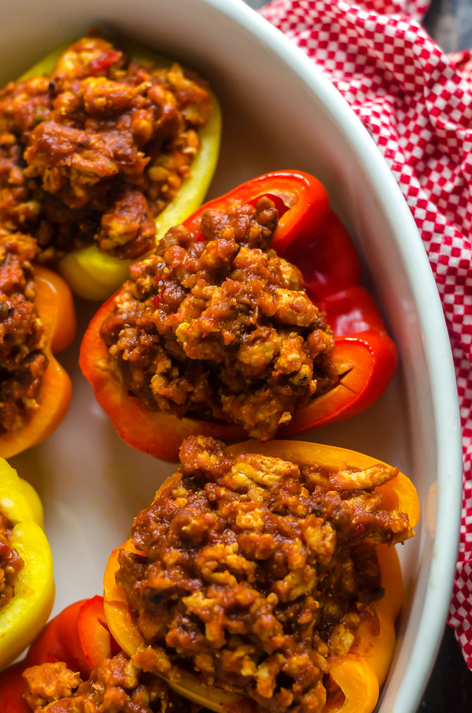 Mom's Sloppy Joe Stuffed Peppers- If I had to eat one thing for the rest of my life, this would be it. Delicious, easy and inexpensive to make, delicious, low calorie, low carb, gluten-free, and did I mention DELICIOUS?! | hostthetoast.com
