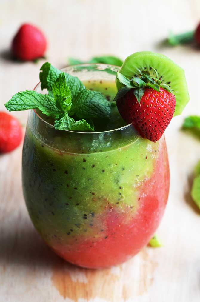 Strawberry-Kiwi Frozen Mojito. Fresh fruit, mint, rum, simple syrup, and ice makes this the PERFECT summer drink. It tastes even better than it looks!