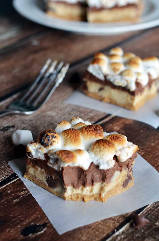 Peanut Butter & Cookie Dough S'mores Bars. All of my favorite childhood treats wrapped up into (nearly) no-bake bars! | hostthetoast.com