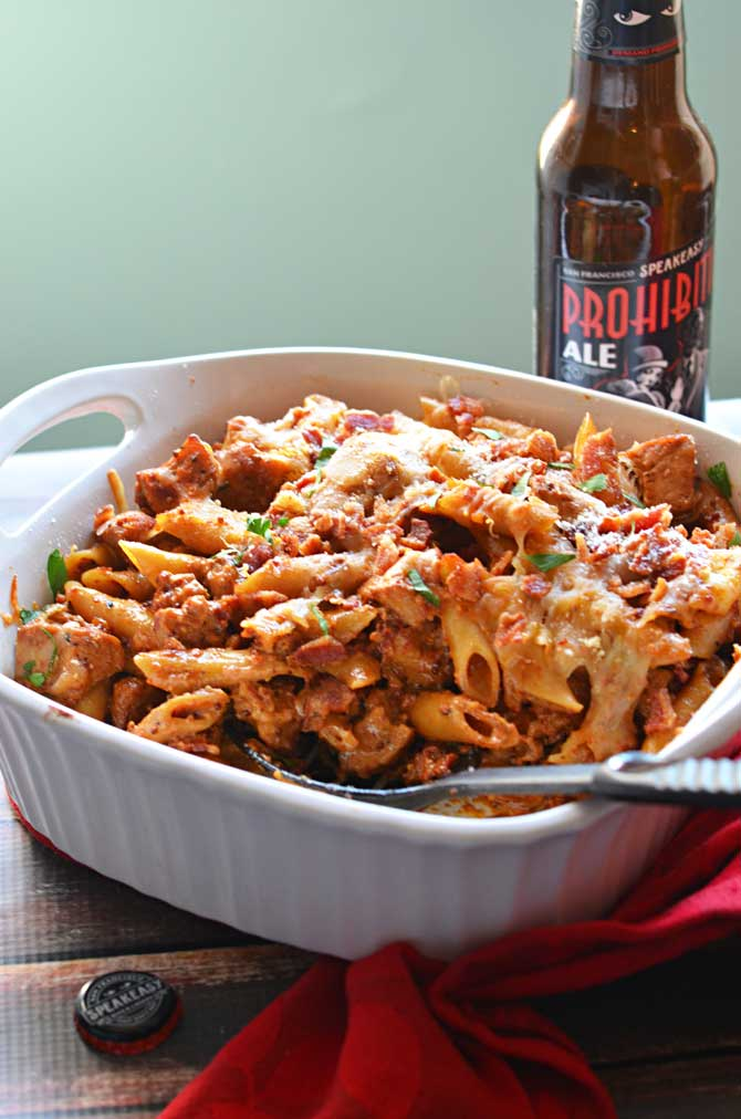 Smoky Sun-Dried Tomato Chicken Penne. Sun-dried tomatoes, ale, mustard, cream, bacon, chicken, garlic, parmesan, and smoked provolone.  Holy flavor! | hostthetoast.com