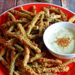 Baked Green Bean Fries with Sriracha Salt and Light Wasabi Ranch Dip