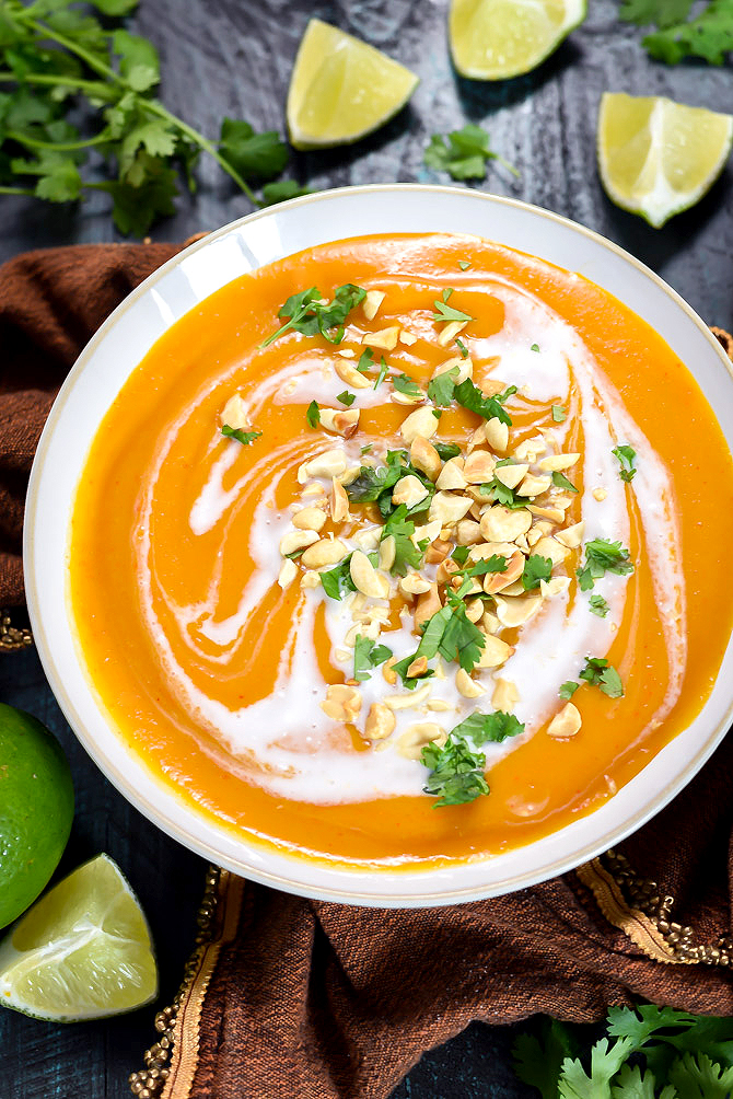 Thai Coconut Curry Butternut Squash Soup. Whether you make it in the slow cooker or on the stove top, you're going to love this flavorful, comforting, delicious fall soup. Dairy free, vegan-friendly, gluten free.   hostthetoast.com