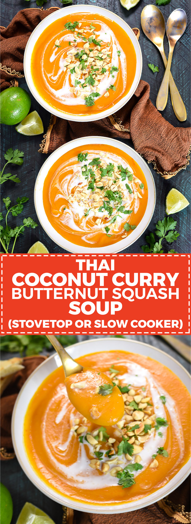 Thai Coconut Curry Butternut Squash Soup. Whether you make it in the slow cooker or on the stove top, you're going to love this flavorful, comforting, delicious fall soup. Dairy free, vegan-friendly, gluten free. | hostthetoast.com