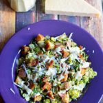 Warm Brussels Sprouts and Kale Bacon Caesar Salad