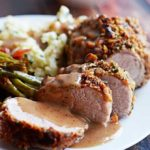 Walnut-Crusted Pork Tenderloin with Apple Cider Gravy