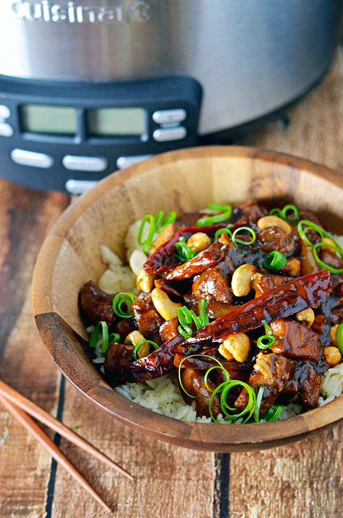 Crock Pot Kung Pao Chicken.   This is so delicious, and easy to throw together!  You can adjust the spice level to suit your own tastes, and add in more vegetables if you'd like.  All made in the slow cooker.  | hostthetoast.com