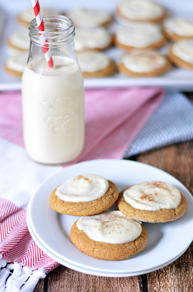 Soft & Chewy Ginger Cookies with Eggnog Frosting.  The perfect Christmas cookie to warm your heart this winter!  | hostthetoast.com