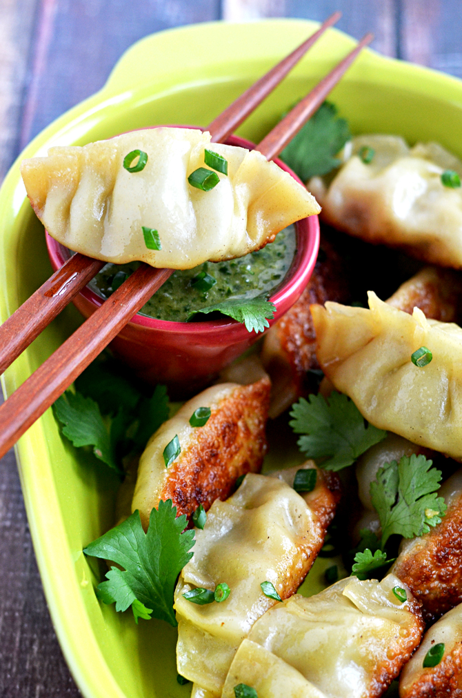 Chipotle Ranch Chicken & Avocado Potstickers with Cilantro-Lime Dip. Asian dumplings get a Tex Mex filling that's big on flavor in appetizer-sized servings. | hostthetoast.com
