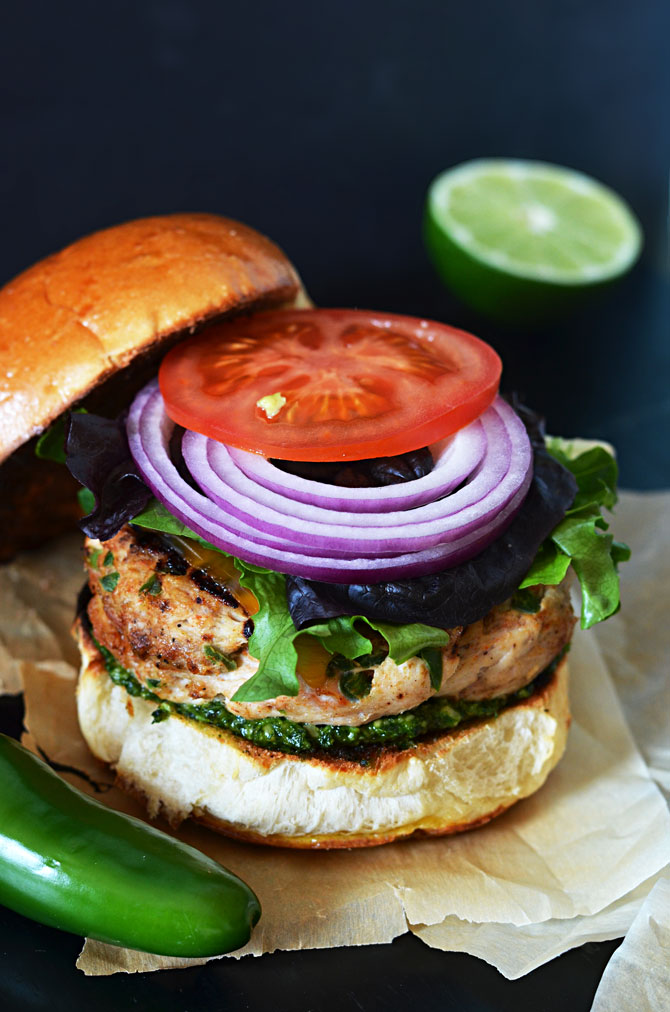 Mexican Turkey Burgers with Cilantro-Lime Pesto. These are the tastiest turkey burgers out there! | hostthetoast.com