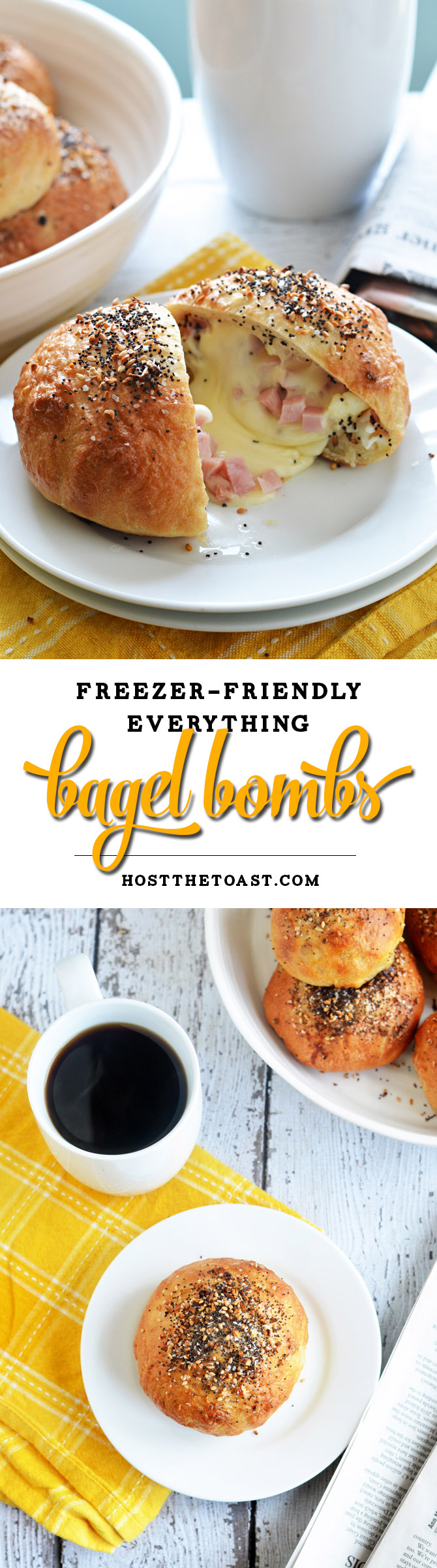Freezer-Friendly Everything Bagel Bombs. Cheese, ham, and eggs are stuffed into bagel-ified dough for the perfect reheatable breakfast for busy mornings. Only 240 calories per serving! | hostthetoast.com