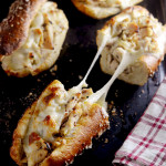Honey Dijon Chicken Cheesesteaks on Pretzel Rolls